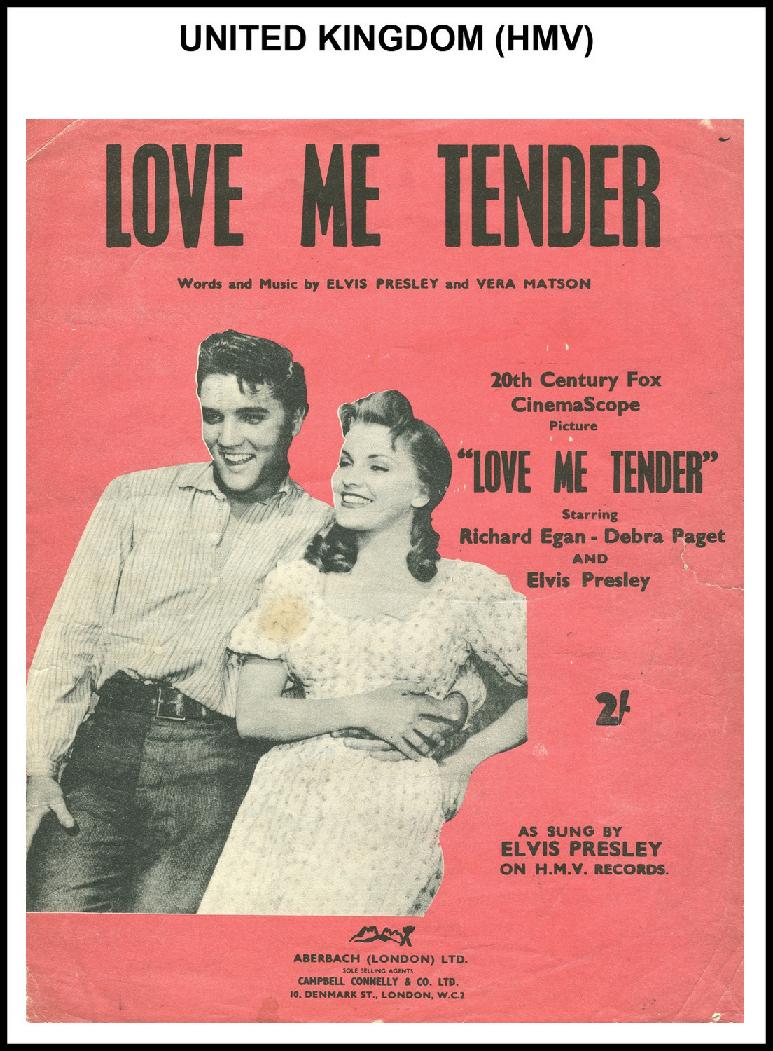 1956 - Love Me Tender (UK, HMV) (CHRIS GILES COLLECTION)