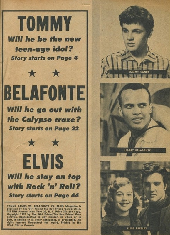 TOMMY SANDS vs. BELAFONTE and ELVIS (1957) page
