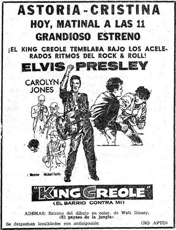 01 King Creole - Spain Barcelona newspaper ad from the premiere in april 1961 (thanks to Josep)