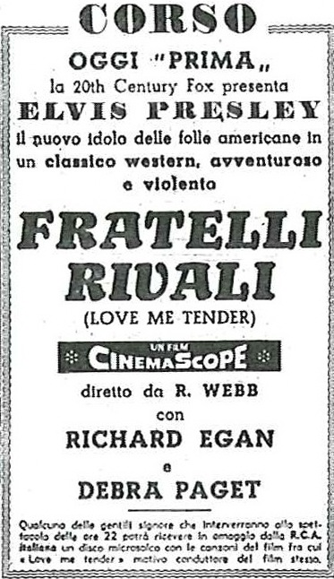 Love Me Tender - Italy newspaper ad