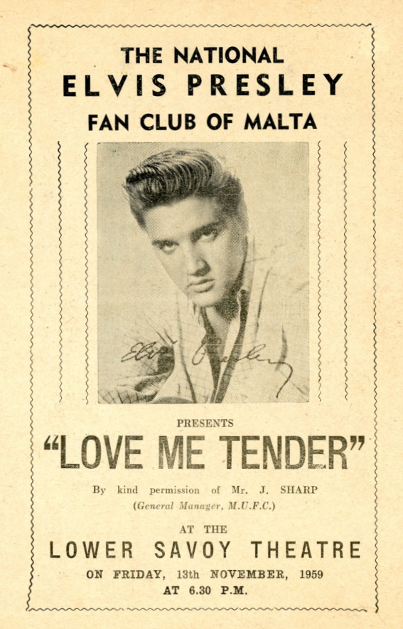 Love Me Tender - Malta flyer (1959)