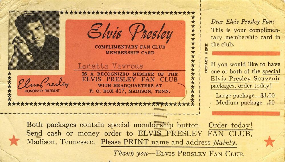 Fan Club Cards Of Early Rr Stars Part 1 Elvis Presley Elvis