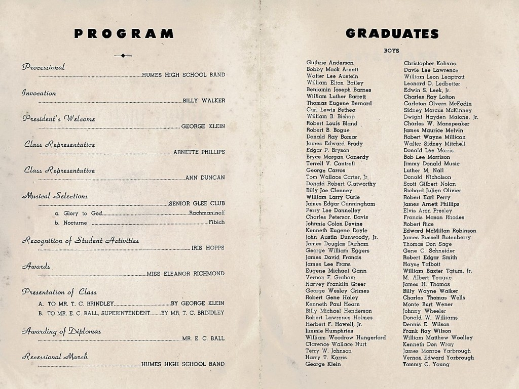 1953 High School Graduation Program. 02 George Klein