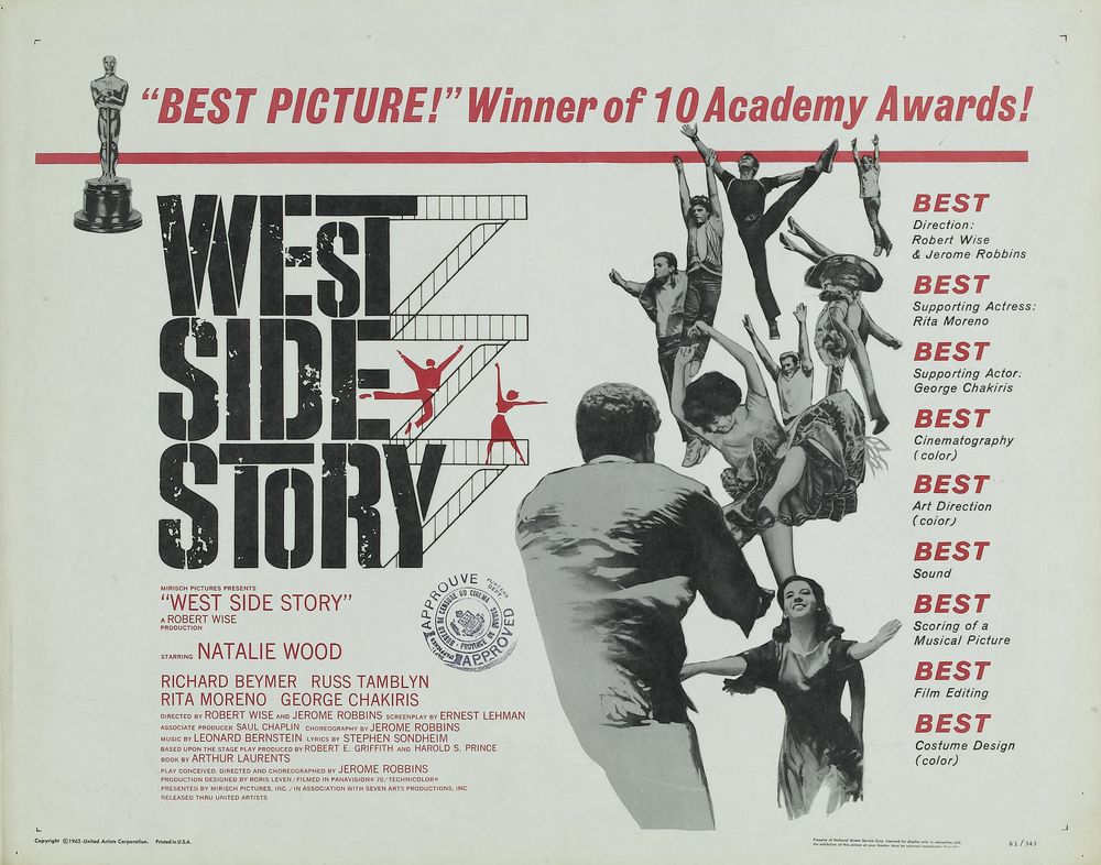 West Side Story - USA half-sheet (1962) Oscars