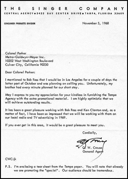 Singer letter to Parker