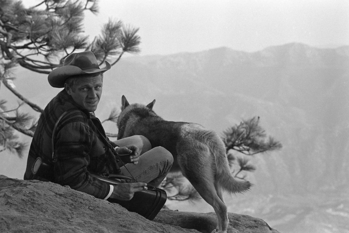 Steve McQueen - John Dominis (1963) camping trip 04 (with his dog, a Malamute named Mike, by his side)