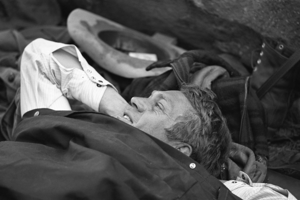 Steve McQueen - John Dominis (1963) camping trip 05 (in his sleeping bag. This is it, man, he told LIFE. Id rather wake up in the middle of nowhere than in any city on earth.