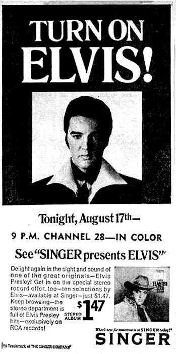 Singer Presents Elvis newspaper advertisement (August 1969)