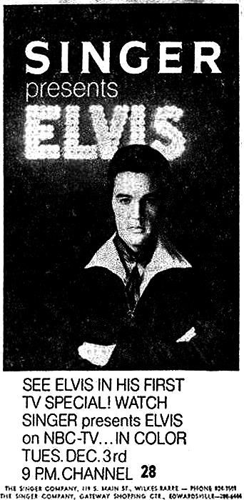 Singer Presents Elvis newspaper advertisement (December 1968)