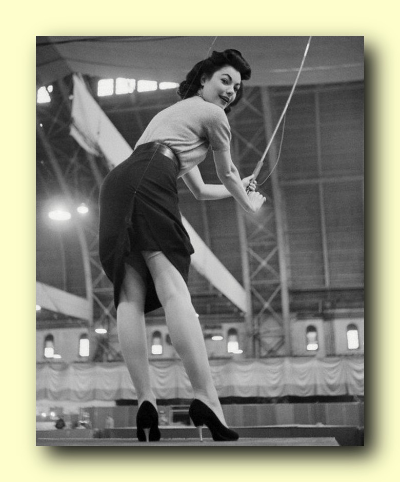 Judy Tyler Trying Out Fishing Equipment