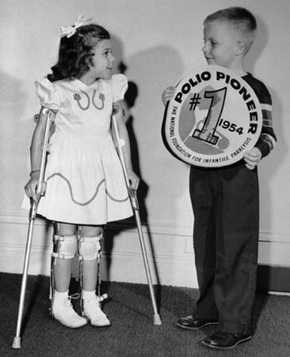 1955 March of Dimes Poster Children Mary Kosloski and Randy Kerr