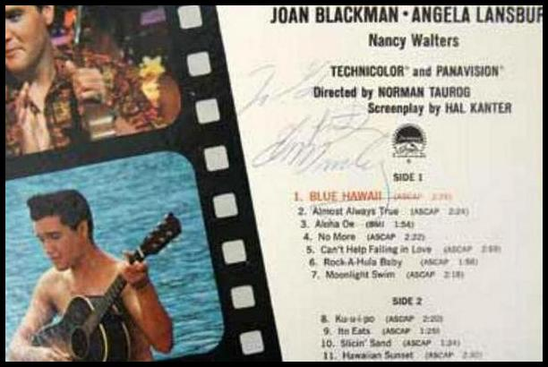 Blue Hawaii album signed To Gary, from Elvis Presley