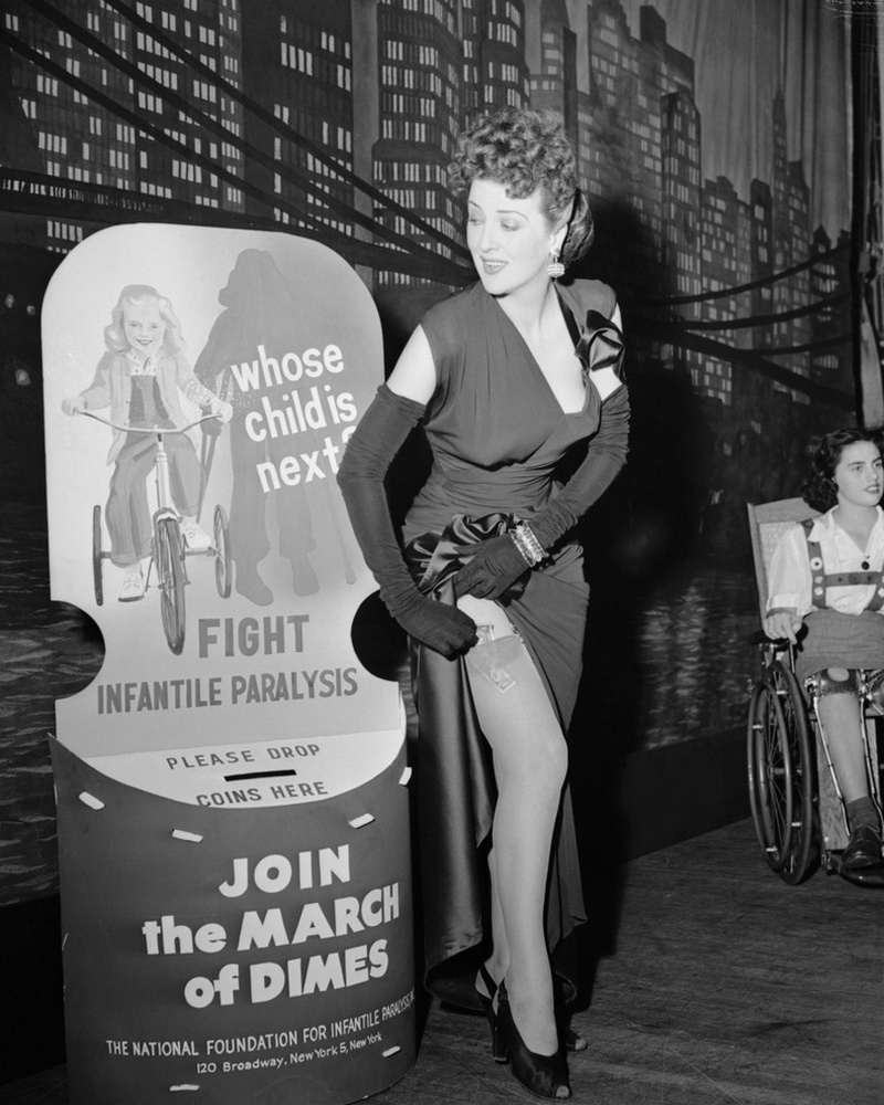 Burlesque artist Gypsy Rose Lee at a March of Dimes benefit lunch in New York, 1945