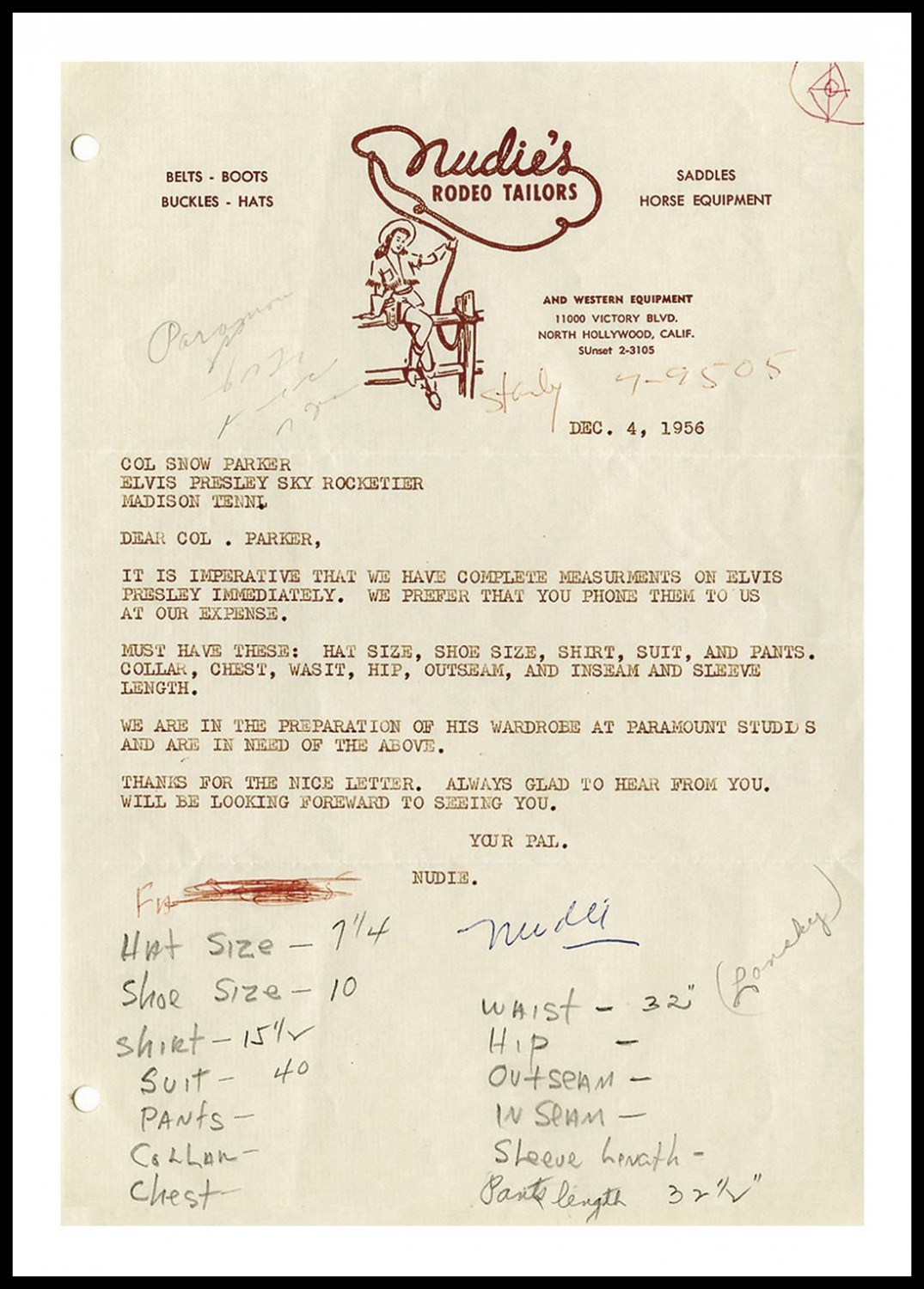 Nudie letter to Parker (December 4, 1956)