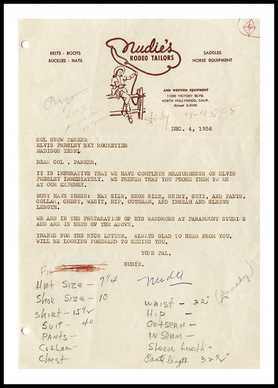 Nudie letter to Parker (December 4, 1956)