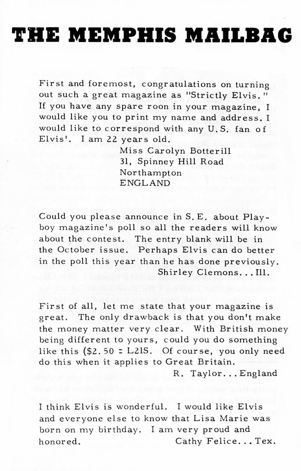 Strictly Elvis No. 6 October 1968 32