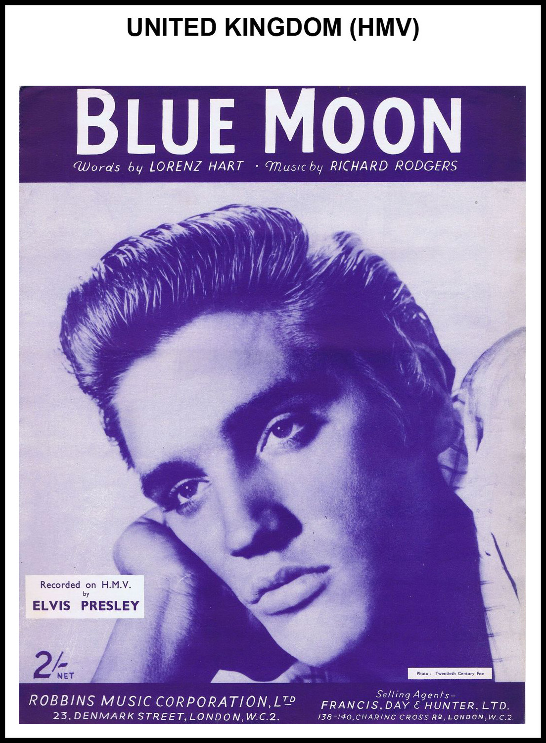 1956 - Blue Moon (UK, HMV) (CHRIS GILES COLLECTION)
