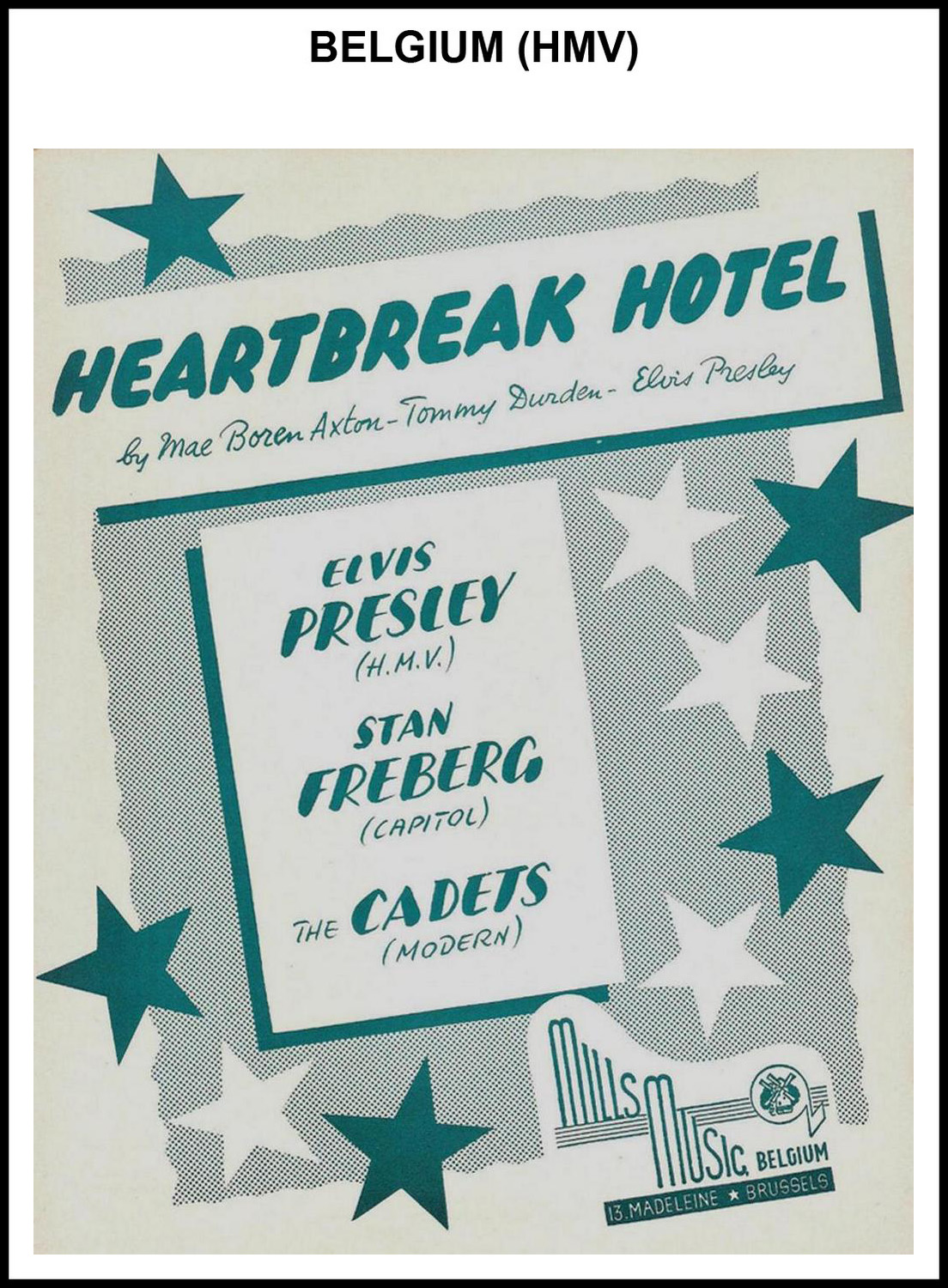1956 - Heartbreak Hotel (Belgium, HMV) (CHRIS GILES COLLECTION)