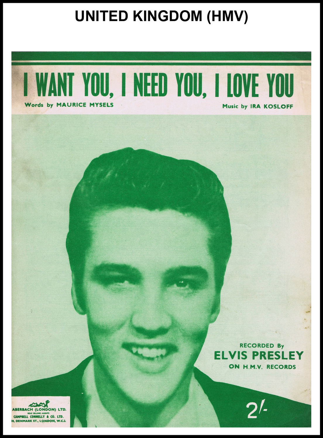 1956 - I Want You, I Need You, I Love You (UK, HMV) (CHRIS GILES COLLECTION)