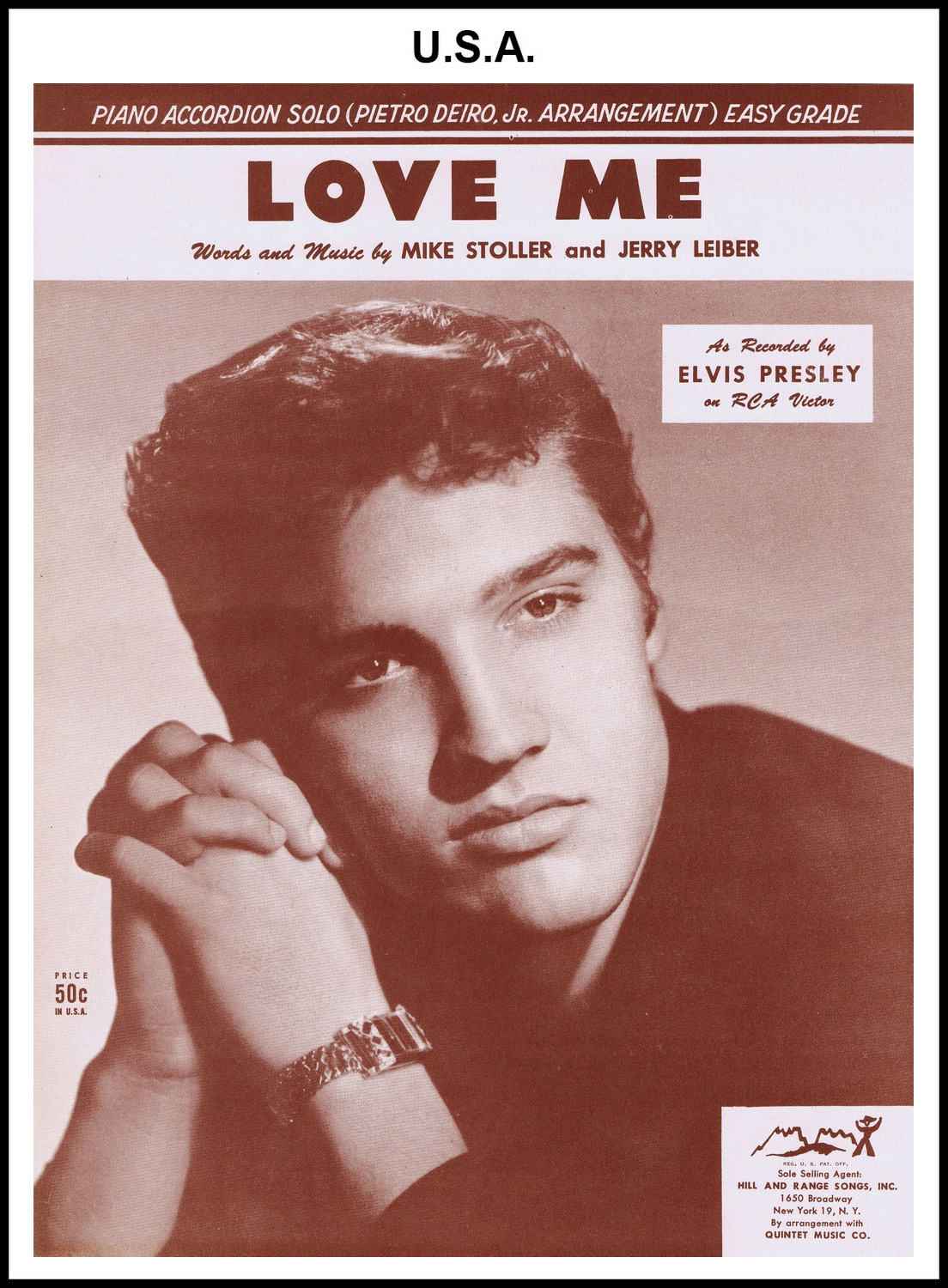 1956 - Love Me - Piano (USA 50c) (CHRIS GILES COLLECTION)