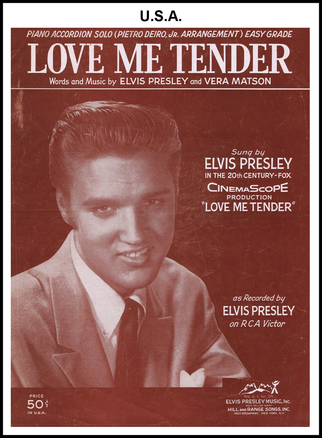 1956 - Love Me Tender - Piano (USA 50c) (CHRIS GILES COLLECTION)