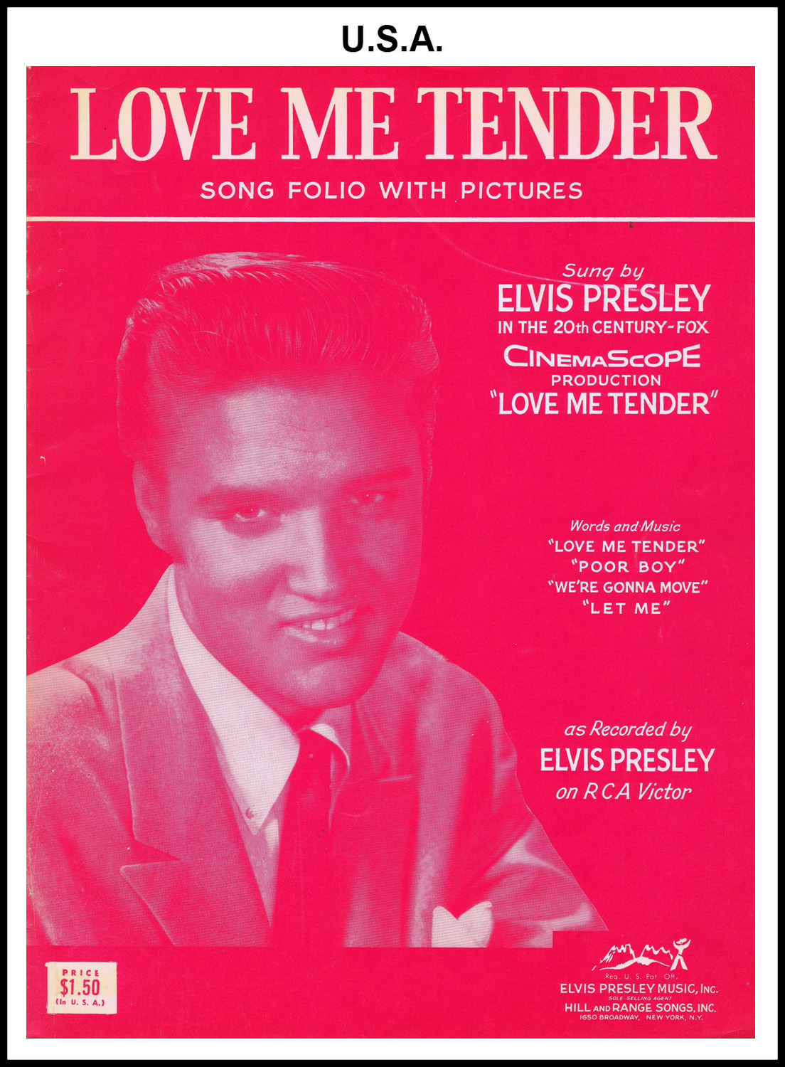 1956 - Love Me Tender Song Folio front (USA 1.50)