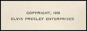 Elvis Presley Souvenir Photo Album - copyright notice