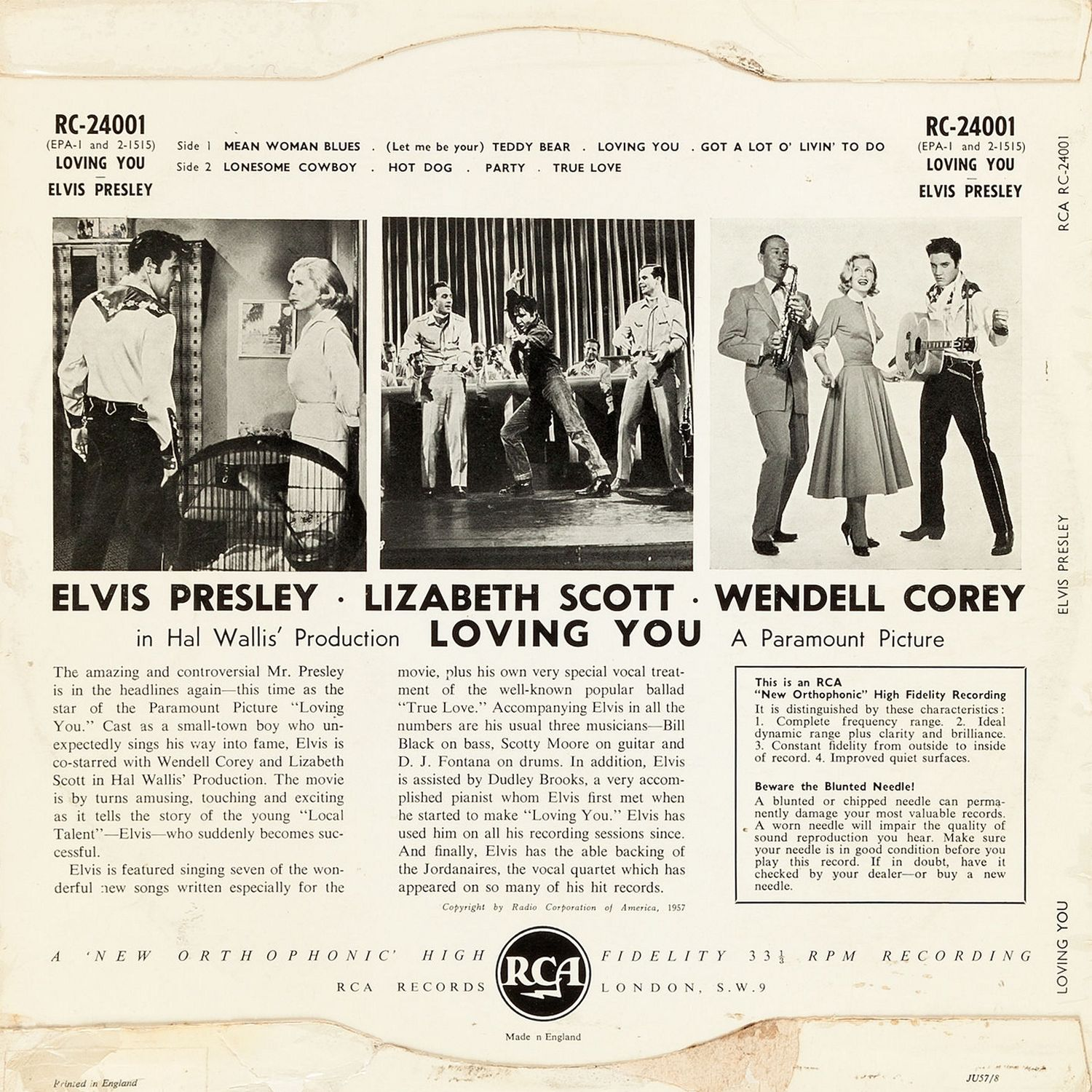 Loving You (UK, August 1957, RC 24001) 02