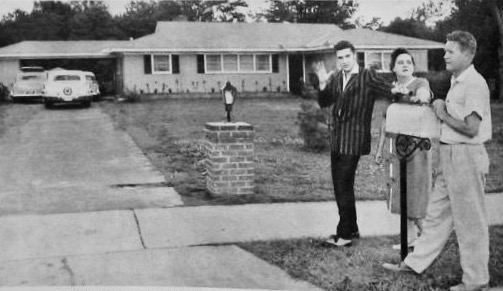 Elvis and parents April 1956 Audubon Drive
