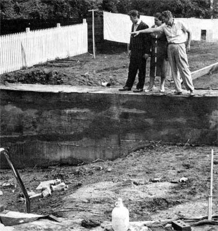 Elvis at Audubon Drive June 1, 1956. Pool construction