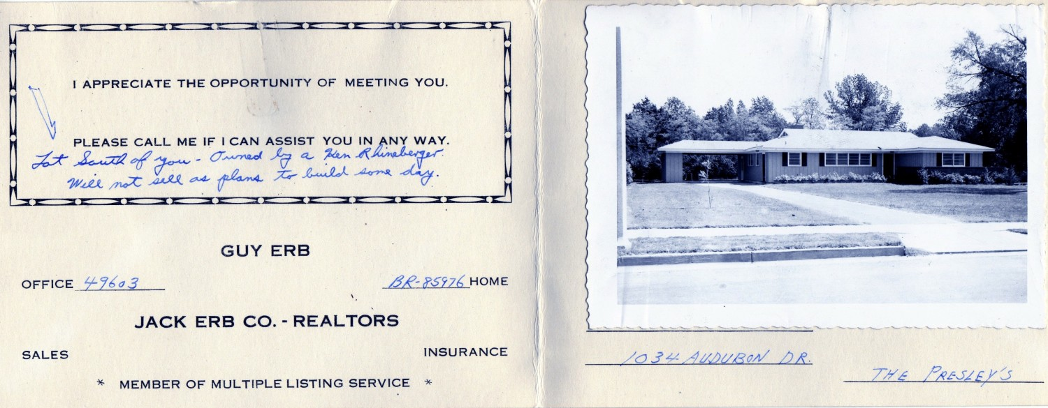 Elvis Audubon Drive March 1956 Realtor card.