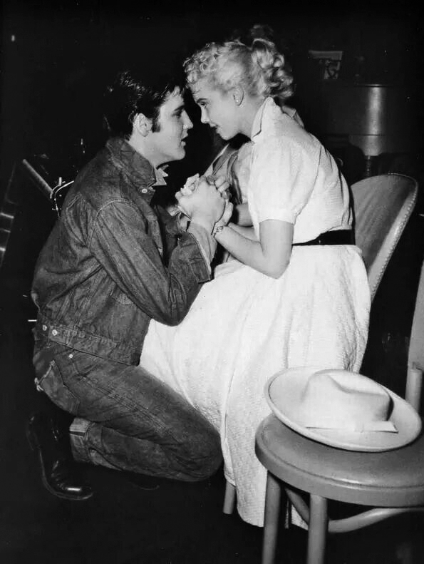 Elvis Presley and Yvonne Lime Loving You movie lot.